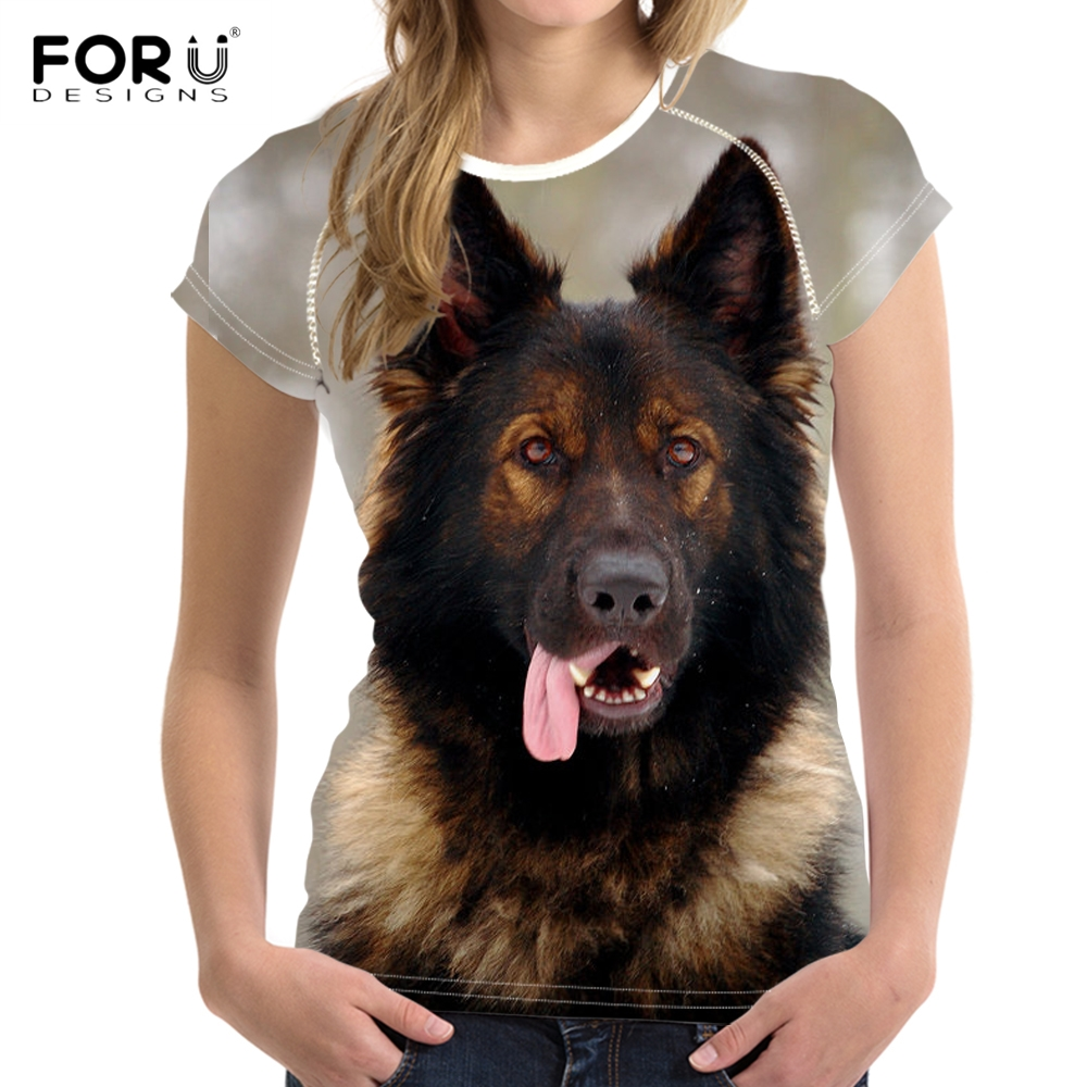 FORUDESIGNS Women Casual Summer T Shirts Cute Animal Puppy German Shepherd Print Girls T-shirts Stylish O Neck Tops Tee Clothing