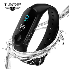 LIGE 2019 New Smart Watch Men Heart Rate Blood Pressure Monitor Fitness Tracker Fitness Watch Smart Bracelet PK Mi Band 3+Box fitness tracker watches blood pressure heart rate monitor smart bracelet fitbit g20 pk mi band 2 fitness bracelet