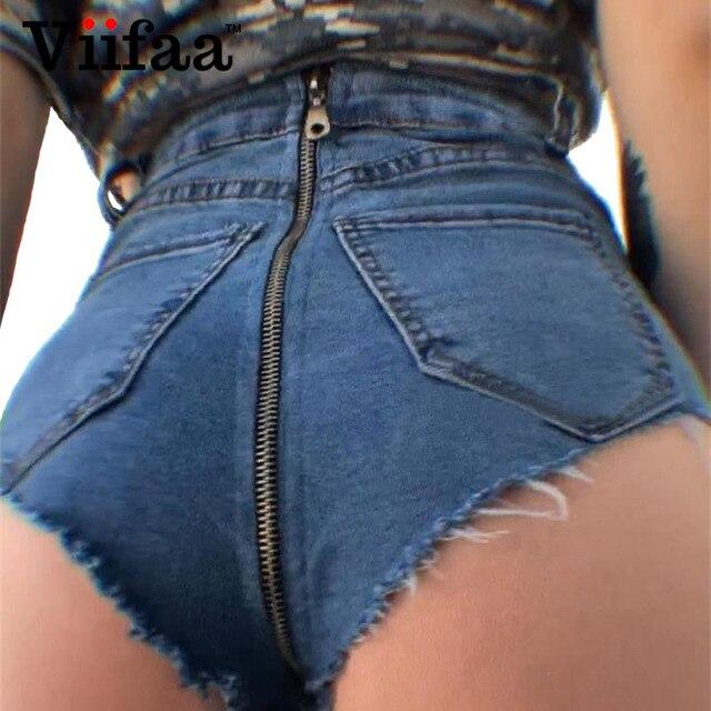 Viifaa High Waist Short Shorts Women Summer Denim Shorts Femme Sexy Streetwear Back Zipper Mini Jean Shorts