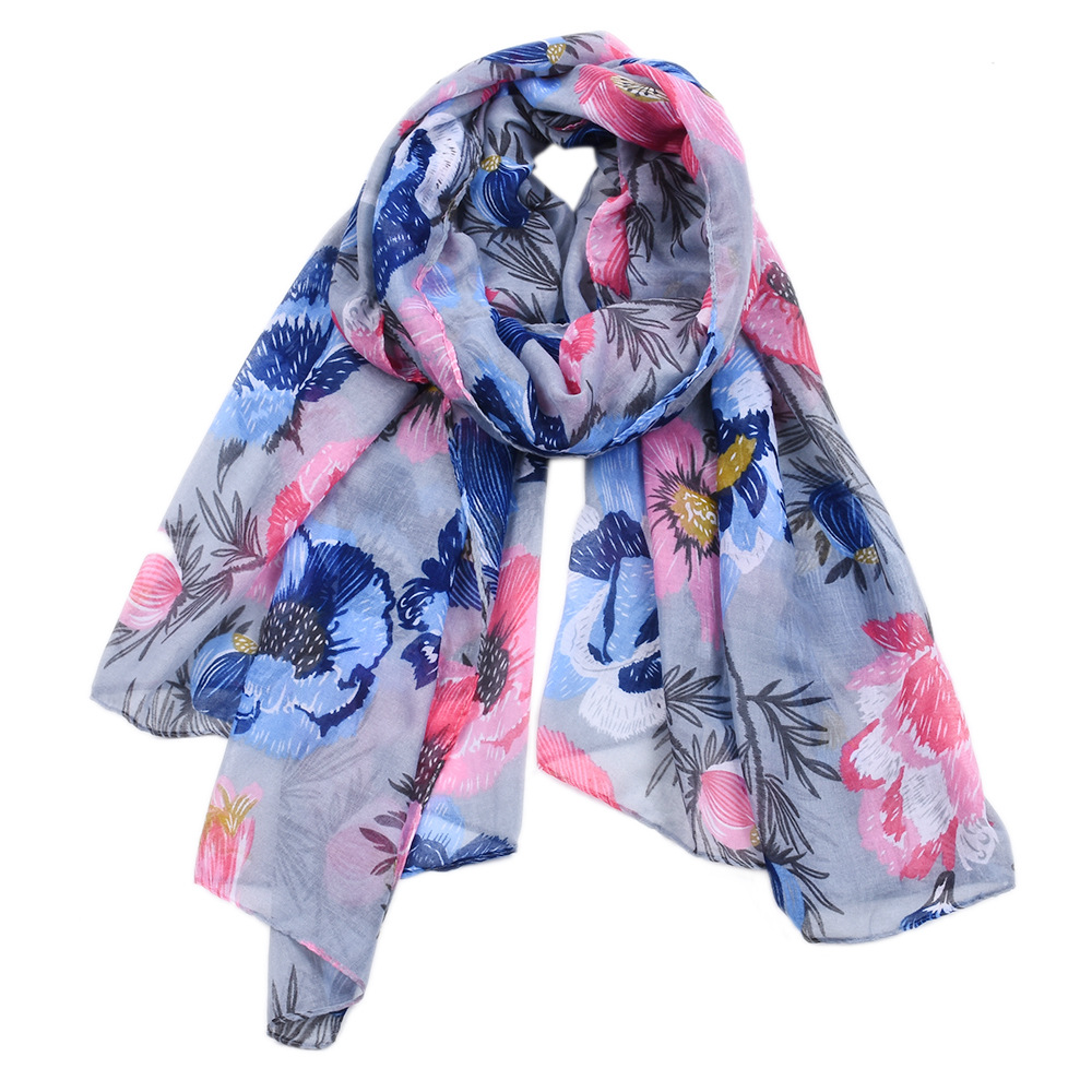 Voile Shawl Hijabs Headscarf Stole Beach-Towel Flower-Printed Muslim Female Fashion 100x190cm
