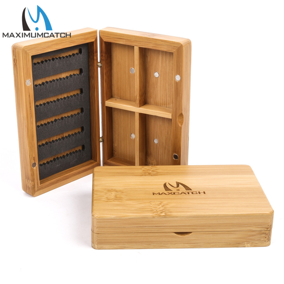 Maximumcatch Wooden Bamboo Fly Fishing Box With Magnetic & Slit Foam  Wooden Fly Box