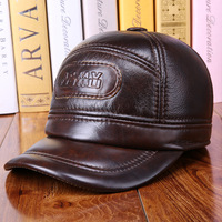 Men's baseball cap autumn and winter solid high quality cowhide hat cotton ears warm elderly casual casual leather bone homme