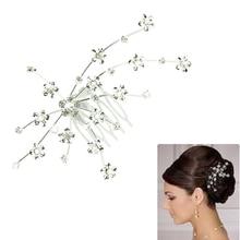 SunWard Good Deal Fashion Women Silver Colour Personality Gem Crystal Wedding Bridal Jewelry Princess Hair Accessories 1PC*2