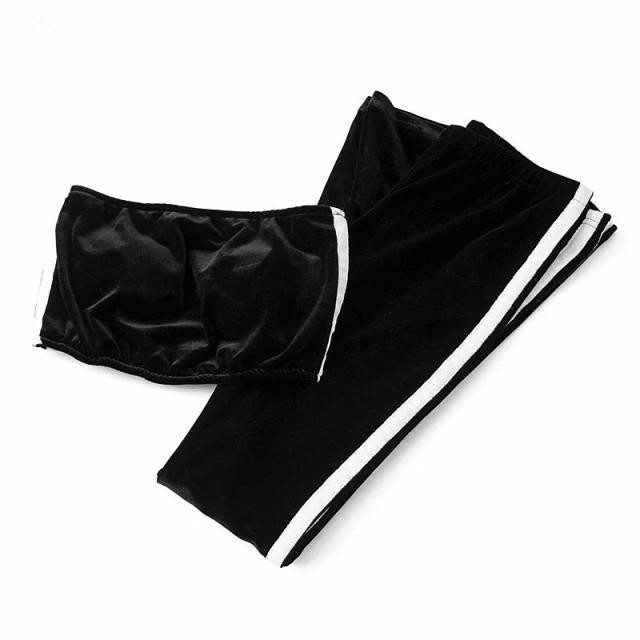 17 Women Tracksuit Velet Two Piece Set Fashion Suit Sexy Stripe Tube Top And Flare Trousers Candy Color 17