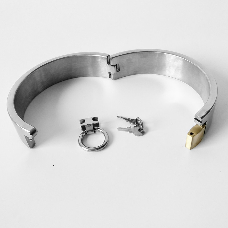 Hi-Q Stainless Steel Lockable Collar Neck Bondage Choker Fetish Slave BDSM Restraint Adult Games Sex Toys For Women Man Couples