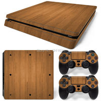OSTSTICKER Wholesale Wood grain Game Accessories Vinyl Decal For Playstation 4 Slim PS4 Slim Skin Sticker Cover