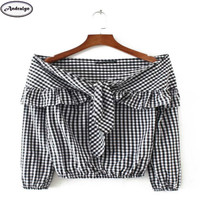 Spring Autumn Women Fashion Plaid Print Ruffles Slash Neck T Shirt Casual Top Female Slim T-shirt