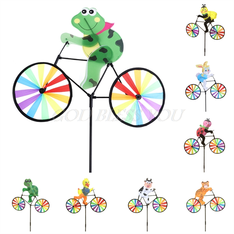 Cute 3D Animal on Bike Windmill Wind Spinner Whirligig Garden Lawn Yard Decor