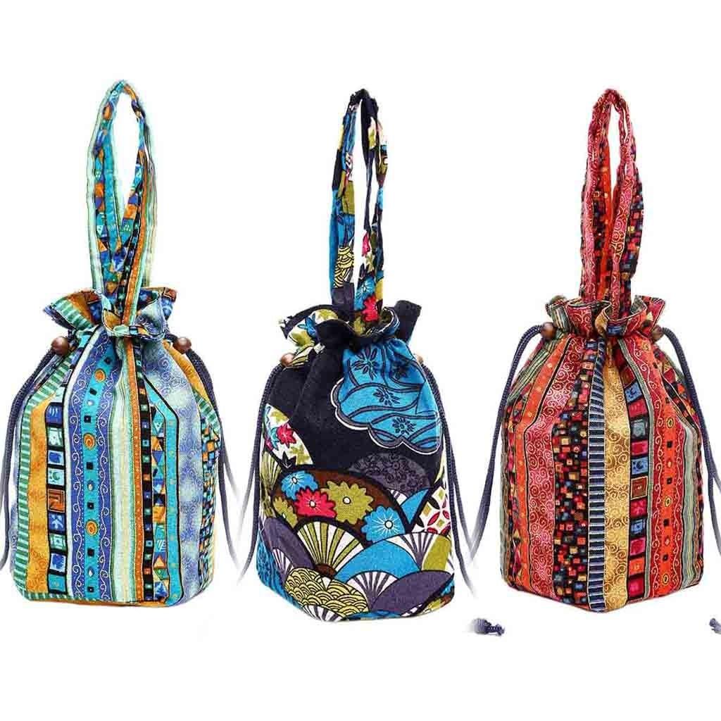 Canvas Floral Bag Ladies Shoulder Bucket Bag Hand Printing Crossbody Bags Drawstring Bags Flap