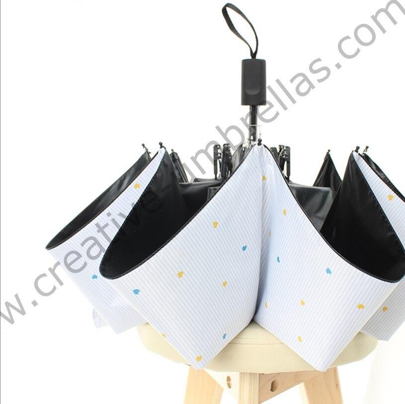 Boeuf flexible anti-tonnerre en fiber de verre coupe-vent 5 fois noir revêtement anti-UV parasol poche mini pliant 3D impression parapluie