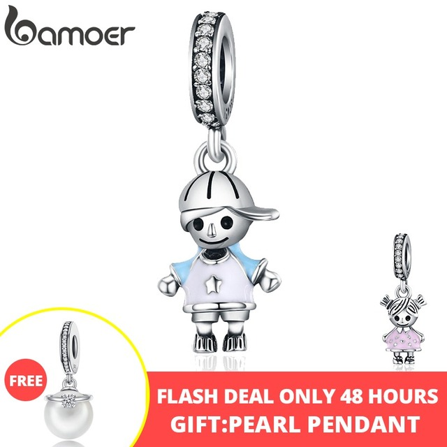 bamoer New 100% 925 Sterling Silver Couple Little Girl & Boy Pendant Charm fit Girls Charm Bracelet DIY Jewelry SCC544