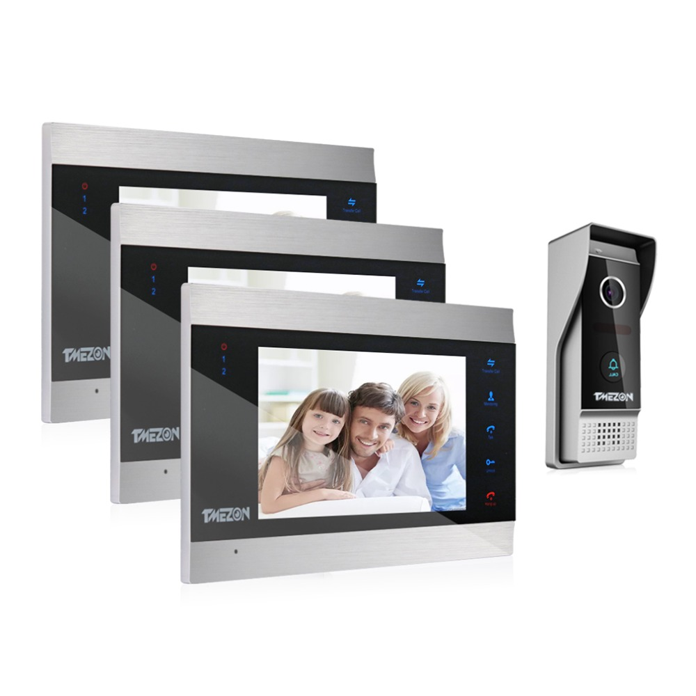 TMEZON 7 Inch TFT Wired Smart Video Door Phone Intercom System With 3 Night Vision Monitor + 1x1200TVL Rainproof Doorbell Camera