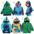 5 Colors! Free Shipping 5 Pieces/lot New Boy Cartoon Cute Long Sleeved Jacket Hooded Terry Animal Model