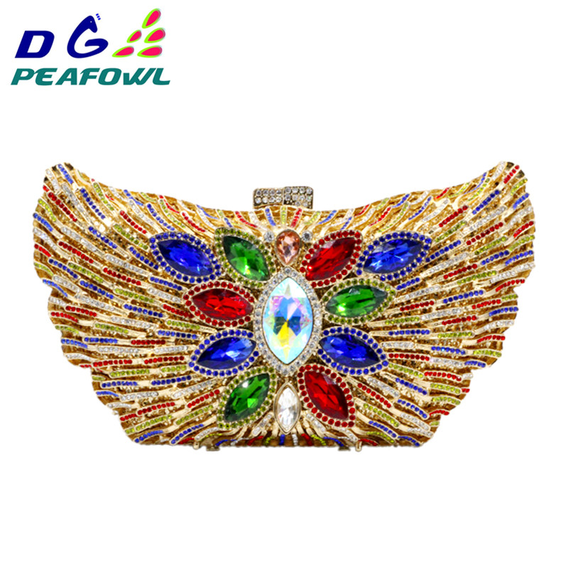 DG PEAFOWL 2019 New Fashion Luxury Women Evening Clutches Handbag Diamond Crystal Flower Shoulder Chain Purses Party handbags DG PEAFOWL 2019 New Fashion Luxury Women Evening Clutches Handbag Diamond Crystal Flower Shoulder Chain Purses Party handbags