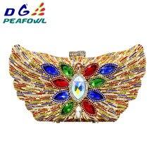 купить DG PEAFOWL 2019 New Fashion Luxury Women Evening Clutches Handbag Diamond Crystal Flower Shoulder Chain Purses Party handbags недорого