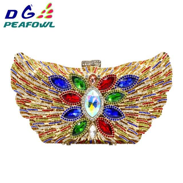 DG PEAFOWL 2019 New Fashion Luxury Women Evening Clutches Handbag Diamond Crystal Flower Shoulder Chain Purses Party handbags