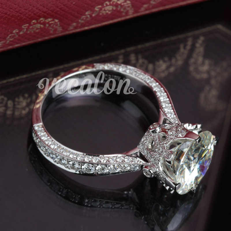 Vecalon Новое Женское старинное Ювелирное кольцо Круглый 3ct фианит AAAAA 925 серебро обручальное кольцо для женщин