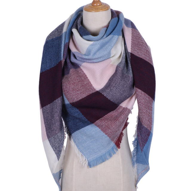 Triangle Scarf For Women Shawl Cashmere Plaid Scarves 2