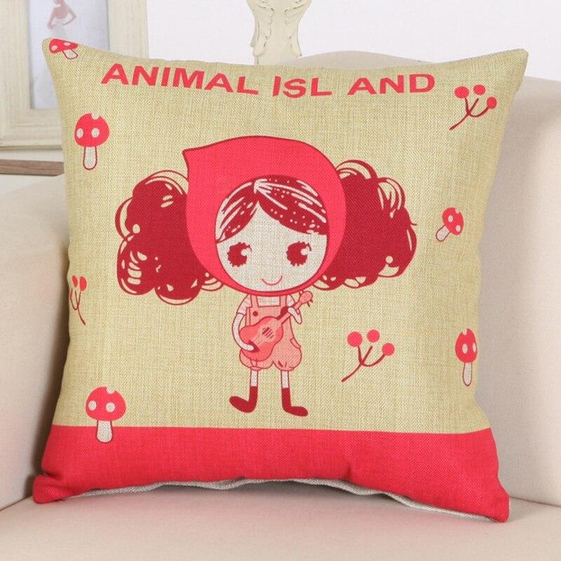Cute Girl Cushion Мұқабасы Linen Cotton Үй Декор Sofa - Үй тоқыма - фото 2