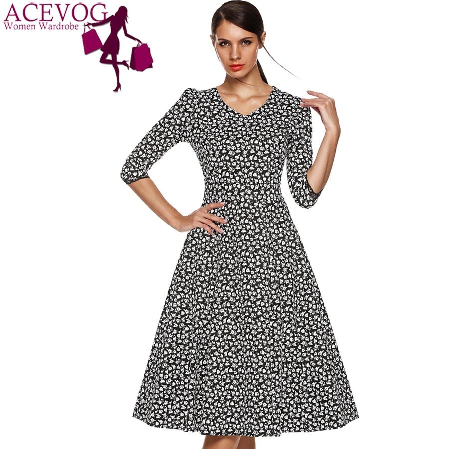 ACEVOG Marka 1950s Sukienka Jesień Wiosna 3/4 Rękawem Kobiety Moda - Ubrania Damskie - Zdjęcie 2