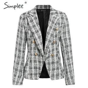 Image 5 - Simplee Tweed plaid two pieces women skirt suit Casual streetwear suits female blazer sets Chic office ladies women blazer suit