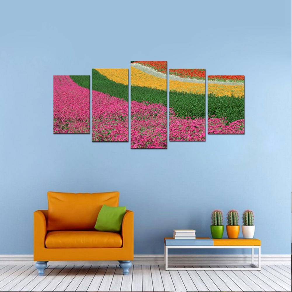 5 Pieces Canvas Wall Art Colorful Floral HD Prints Painting Artwork-Modern Flower Field Pictures Print on Canvas Paintings