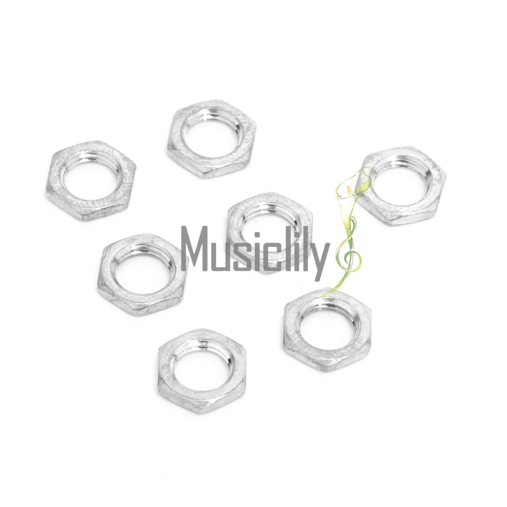 Musiclily 7mm/8mm Guitar Bass Pots Potentiometer Hex Nut for Fender strat stratocaster Tele Telecaster Replacement ( Pack of 10)
