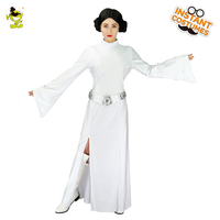 White Princess Leia Costumes with Belt Women Carnival Party Classical Sttar wars Brave Fighter Princess Cosplay Fancy Dress