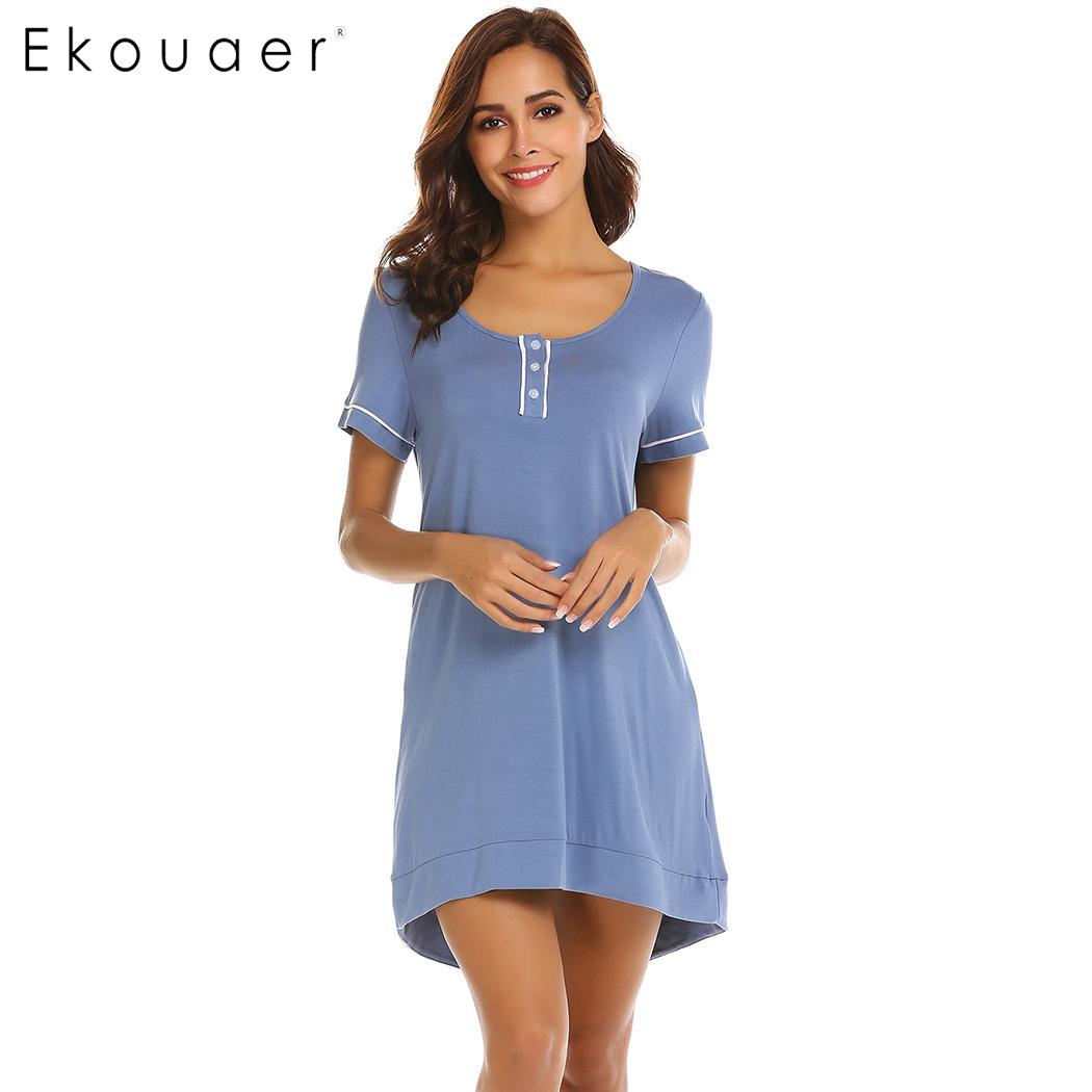 Ekouaer Women Casual   Nightgown     Sleepshirt   Short Sleeve O-Neck Button Front Solid Sleep Dress Nightwear Female Home Wear Clothes