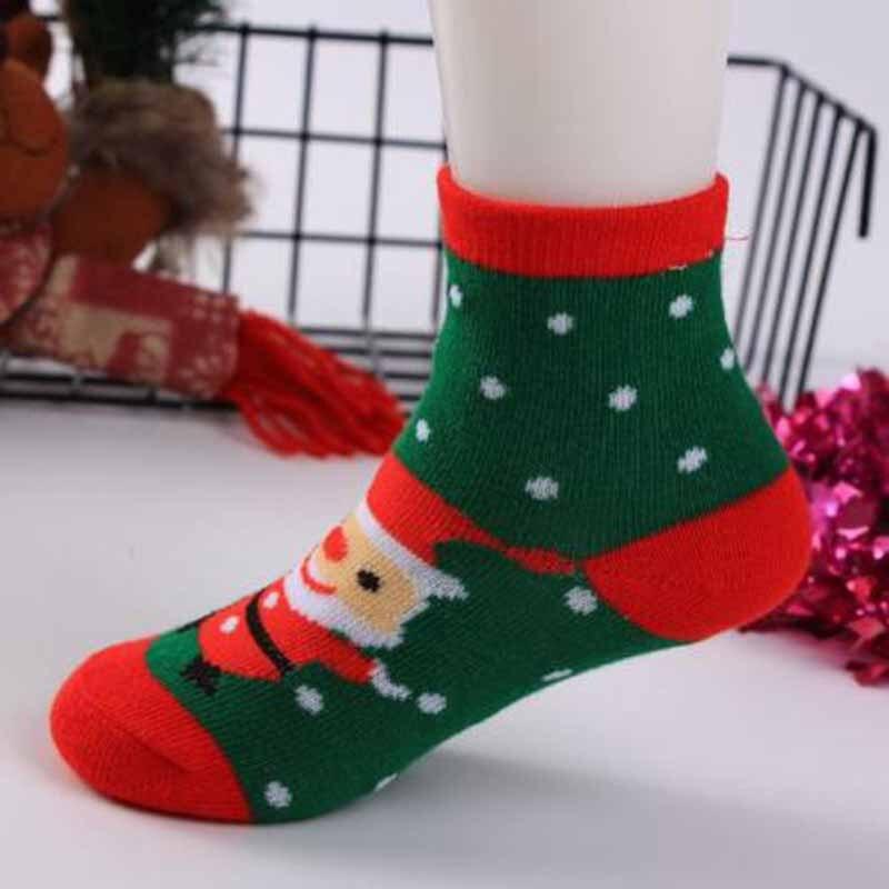 New Cotton Straight Christmas Sock Boy Girl Lovely Cartoon Santa Claus Short Socks Breathable Hosiery S M L XL