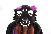 Yetişkin Karikatür Siyah Ejderha Dinozor Pijama Unisex Sleepsuit Cosplay Onesie Pijama Tulum Erkek Kad Kostümleri Hayvan Için