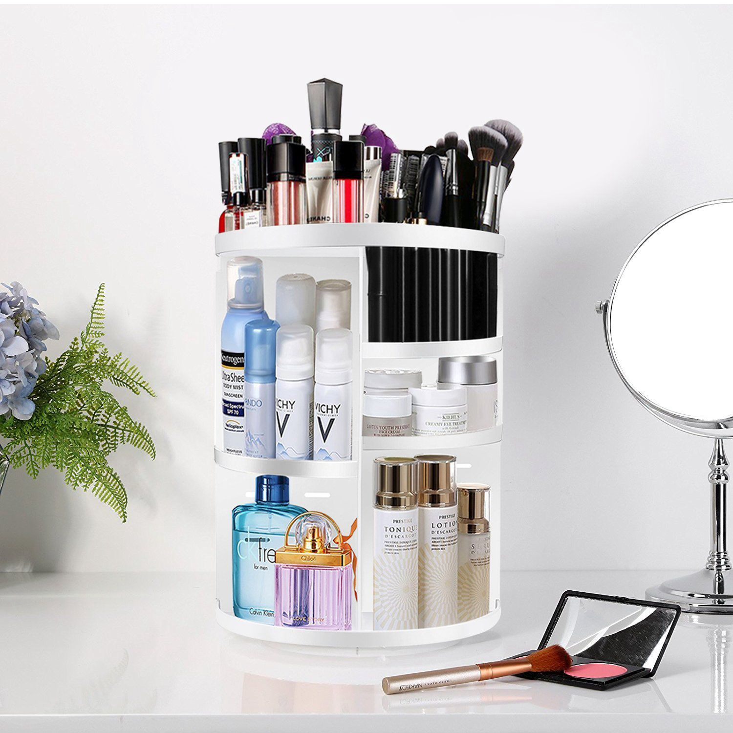 360 Degree Rotating MakeUp Organizers and Storage Box Gift For Women Adjustable Multi-Function Cosmetic Case Brush Holder Stan