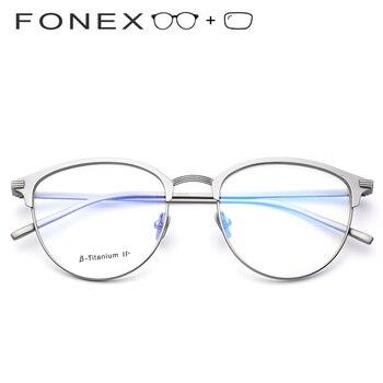 Pure B Titanium Prescription Glasses Frame Men Round Eyeglasses Eyewear Vintage Myopia Optical Spectacles Eye Glasses for Women
