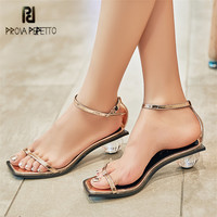 Prova Perfetto Women Gladiator Sandals Transparent Ball Heel Summer Sandalias Mujer Ankle Strap Flip Flops Beach Shoes Woman