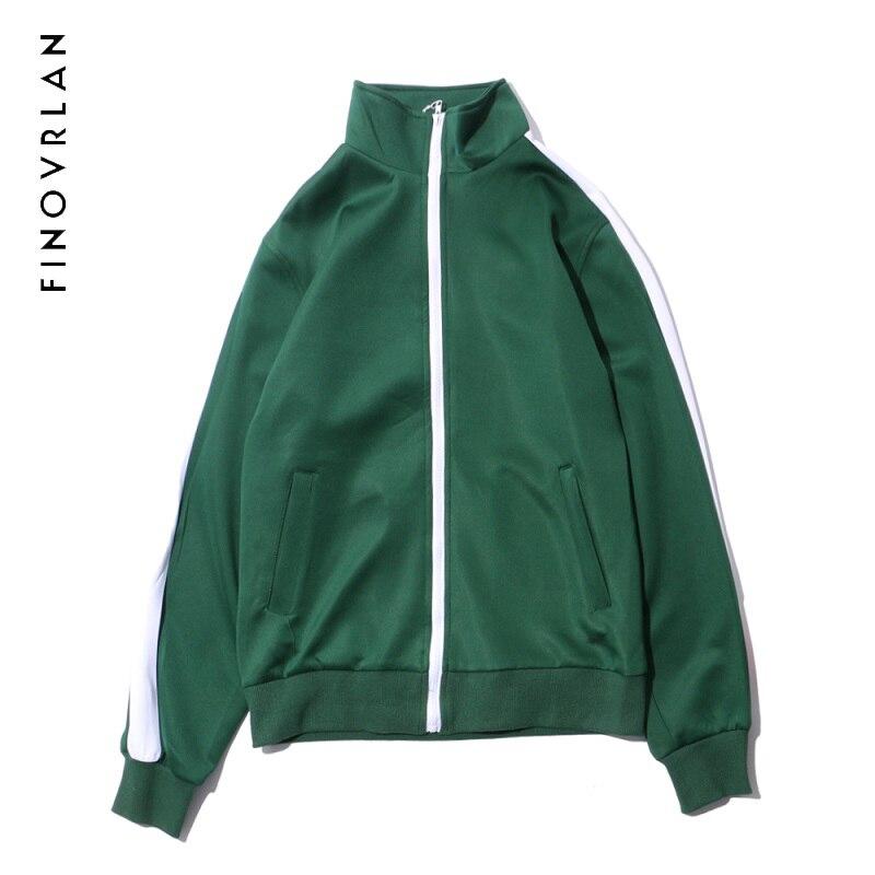 Vintage Color Block Stripe Track Jackets Coats 2017 New zipper Up Turtleneck Coat Casual Zipper Pockets Jacket Black Green