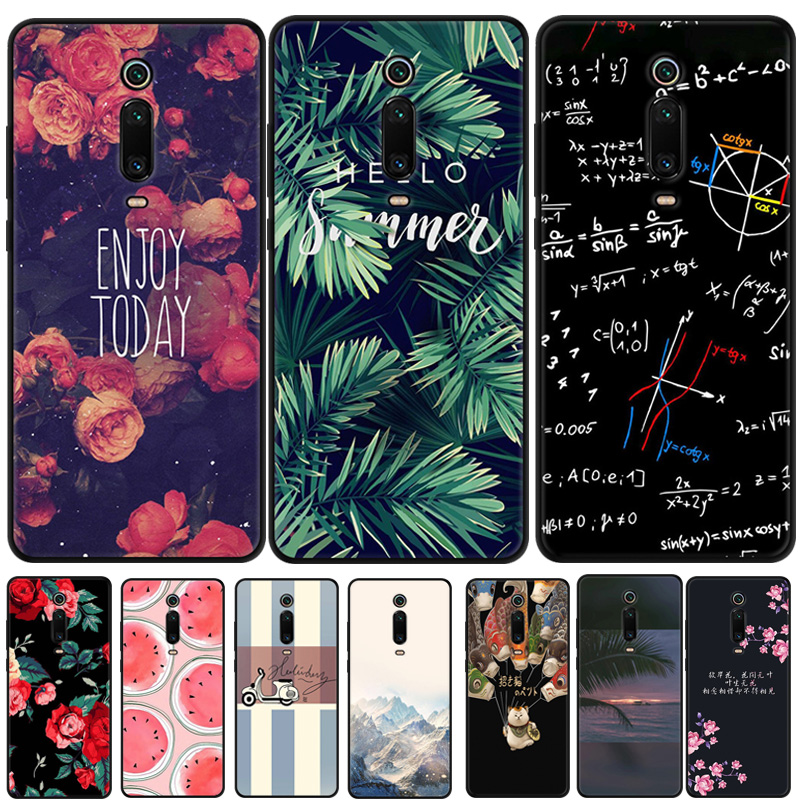 For Xiaomi Mi 9T Case Mi 9T Pro Cartoon Printed Soft Black Bumper Silicone TPU Cover For Xiaomi Mi 9T Pro Mi9t 9 T Phone Cover