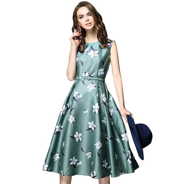7f486162a Mulheres elegantes Em Torno do pescoço Sem Mangas vestido Midi Floral  Cintos De Cintura Alta feminina