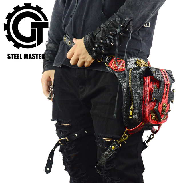 Red Black Leather Patchwork Bronze Skull Rivet Punk Waist Bags for Women Men Vintage Motorcycle Leg Bag of Original Designer