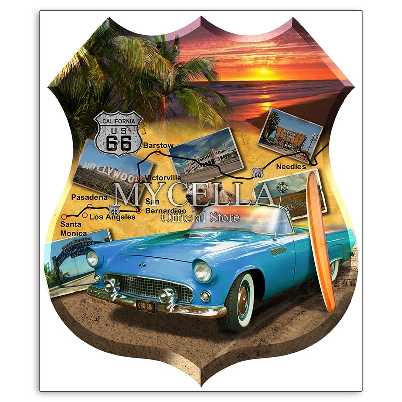 Full 5D DIY Diamond Painting California 66 Cars Beach Sunrise Diamond Embroidery Cross Stitch Needlework Diamond Mosaic Decor(China)