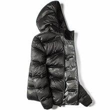 Markless kış dikişsiz aşağı ceket marka giyim kalın 90% beyaz ördek aşağı rüzgar geçirmez sıcak tutan kaban kapüşonlu parka erkekler ve kadınlar için