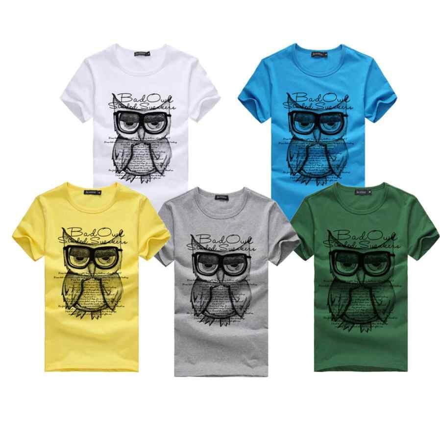 b05a69490 Men T-Shirt Owl Burst Knitted Cotton New Printing Casual Summer Man Slim  Fit Short