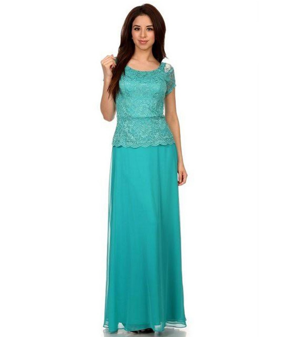 2016 Simple Jade A-line Lace Chiffon Modest Bridesmaid Dresses with Short  Sleeves Royal Blue Long Modest Wedding Party Dresses 47c587de4b90