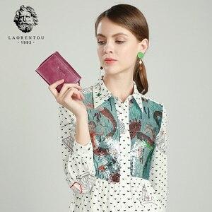 Image 3 - LAORENTOU جلد طبيعي محافظ المرأة حامل بطاقة الإناث عادية قصيرة محفظة نسائية للعملات المعدنية السيدات سعة كبيرة حقيبة المال محفظة صغيرة
