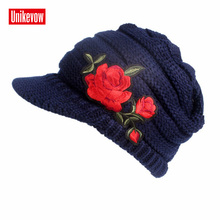 UNIKEVOW New arrival Embroidery rose beanie Casual hat with visor for Women Button cap autumn spring winter ladies hats