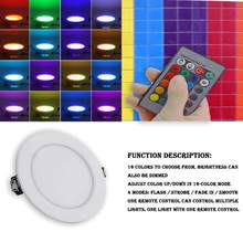 5 W/10 W Dimmable RGB LED Panel de Techo Luz RGB lámpara de pared iluminación interior del hogar con 24 ketS memoria Control remoto cambio de Color(China)