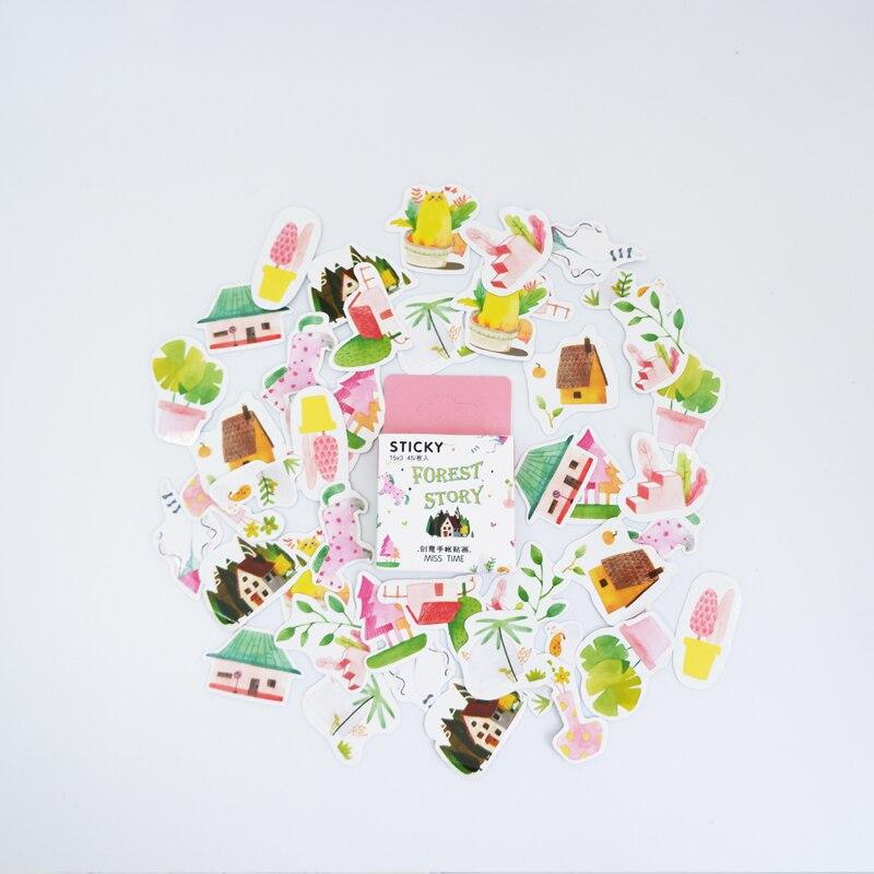 Купить с кэшбэком 45pcs/box Kawaii Small forest DIY stickers decoration diary posted album scrapbooking decorations sealing stickers stationery