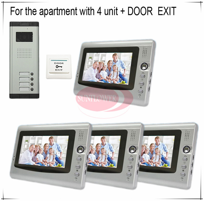 Classic Color Video Door Phones intercom systems For 4 Apartments with four 7 LCD Indoor units and 4 keys Doorbell point systems migration policy and international students flow