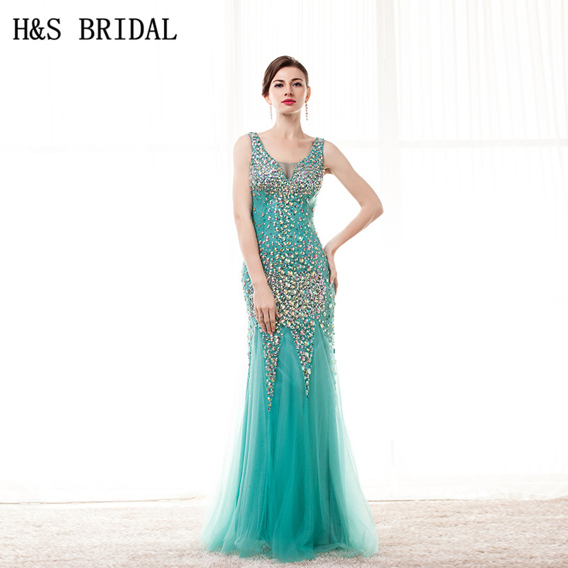 H&S BRIDAL Green Crystal sparkly   prom     dresses   V-neck Beaded Tulle Sexy Sheer Back formal evening gowns mermaid   prom     dress   2019
