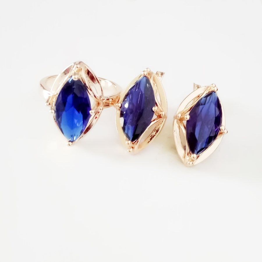 Office Jewelry Set Blue Stone Cubic Zircon Ring Sets Rose 585 Gold Color Anniversary Jewelry Ring+Earring Jewelry Sets for Women wholesale price 16new ^^^^ewellery green stone inlay zircon earring pendant ring sets