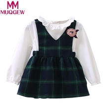 MUQGEW Dress Of Toddler Kids Girls Cute Long Sleeve Bubble Dress Princess Checked Plaid Dress Peter pan Collar Of Cotton
